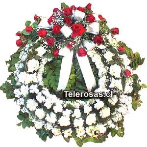 Corona fúnebre Tradicional Imperio, con moño principal de rosas